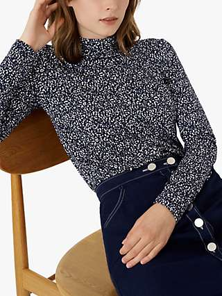 Brora Dapple Print Jersey Polo Top, Navy