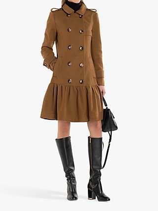 Jolie Moi Ruffle Hem Trench Coat