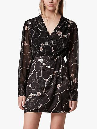 AllSaints Limina Hope Abstract Wrap Dress, Black
