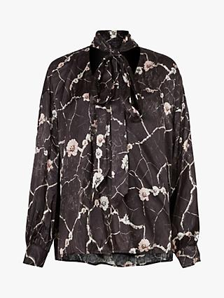 AllSaints Cesey Hope Tie Neck Abstract Print Top, Black