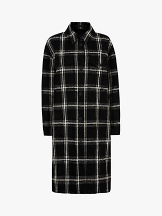 AllSaints Nia Wool Blend Check Coat, Black/Grey