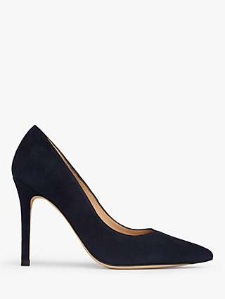 L.K.Bennett Floret Pointed Suede Court Shoes, Navy