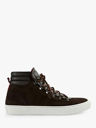 Ted Baker Lidiss Leather High Top Trainers, Mid Brown