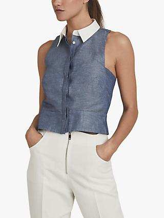 Reiss Nisha Contrast Collar Sleeveless Top, Blue