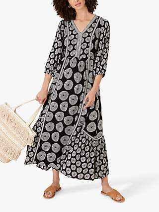 Monsoon Ashoka Graphic Print Midi Dress, Black