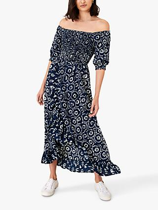 Monsoon Esha Abstract Circle Maxi Dress, Navy