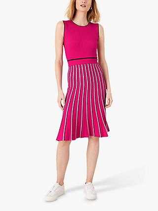 Monsoon Mimi Ribbed Bodycon Dress, Pink