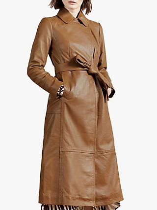 Ted Baker Enyer Leather Coat, Mid Brown