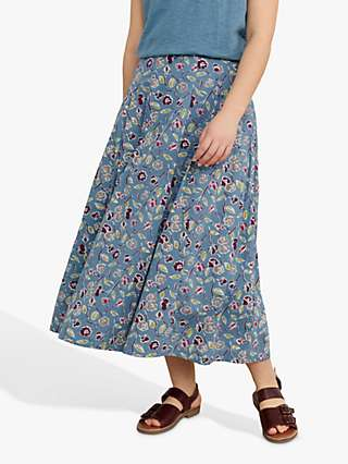 Seasalt New Eve Organic Cotton Floral Midi Skirt, Blue/Multi