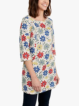 Seasalt Into Land Floral Linen Tunic, Blue/Multi
