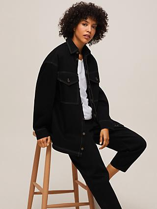 Mother of Pearl Organic Cotton Denim Overshirt Jacket, Black