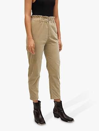 Mango Elasticated Waist Trousers, Light Pastel Grey