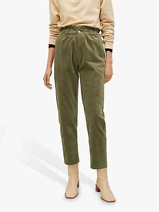 Mango Elastic Waist Cotton Trousers, Khaki
