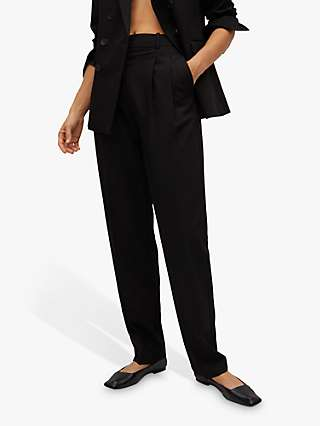 Mango Pleated Suit Trousers, Black
