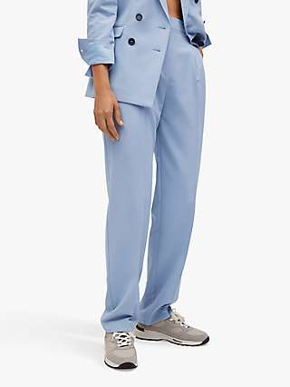 Mango Pleated Crop Suit Trousers, Pastel Blue