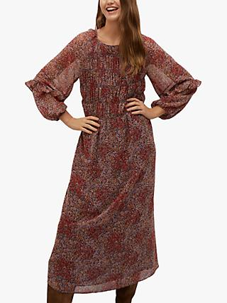 Mango Floral Print Ruched Midi Dress, Rust/Copper
