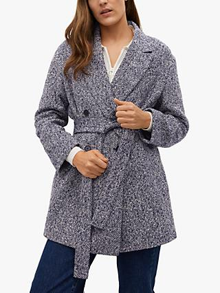 Mango Textured Stitch Belted Wrap Coat, Navy