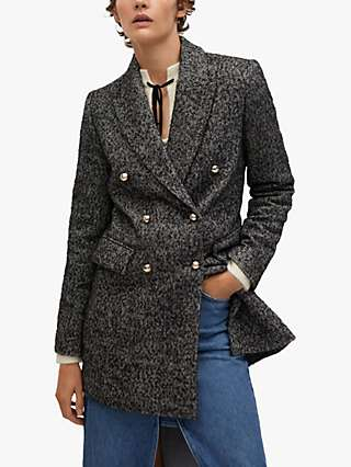 Mango Textured Double Breasted Wrap Coat, Grey