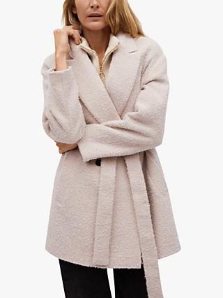 Mango Textured Belted Wrap Coat, Light Beige