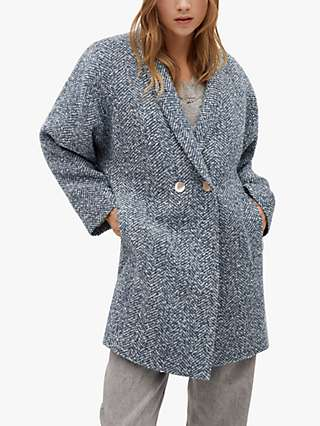 Mango Textured Stitch Wrap Coat, Medium Blue