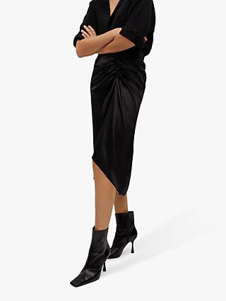 Mango Draped Satin Midi Skirt, Black