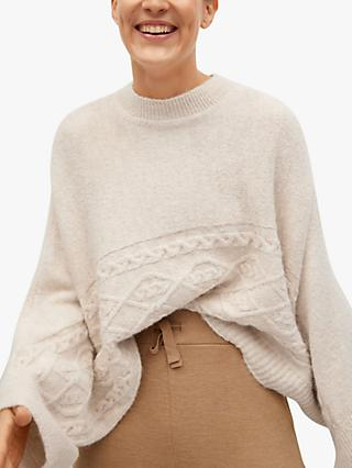 Mango Knitted Oversize Cape, Light Beige
