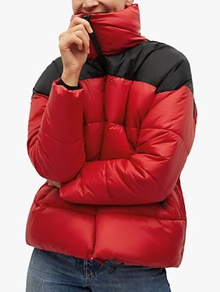Mango Bicolour Quilted Jacket, Red/Black