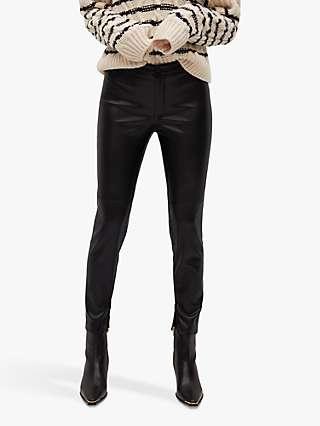 Mango Slim-Fit Faux Leather Trousers, Black
