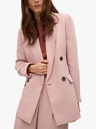 Mango Structured Double Breasted Suit Blazer, Pastel Pink