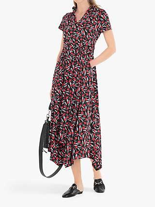Jolie Moi Printed V-Neck Dress, Black/Multi