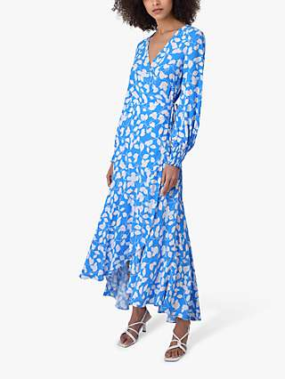 Ro&Zo Leaf Wrap Maxi Dress, Blue/Ivory