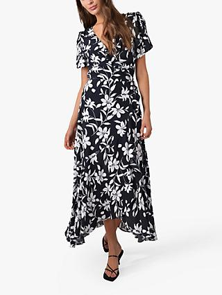 Ro&Zo Monochrome Floral Wrap Midi Dress, Black/White