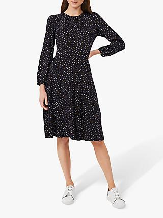 Hobbs Portia Ditsy Boat Print Jersey Dress, Navy/Multi