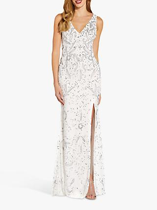 Adrianna Papell Beaded Sleeveless Gown, Ivory