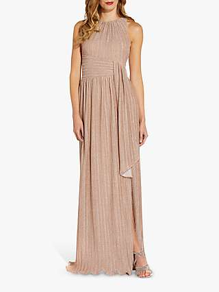 Adrianna Pepell Metallic Pleat Gown, Champagne