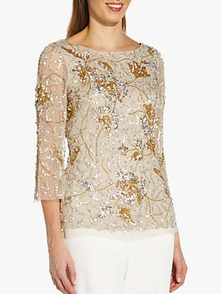 Adrianna Papell Covered Bead Top, Biscotti