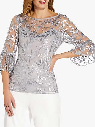 Adrianna Papell Foil Embroidered Blouse, Silver Dove
