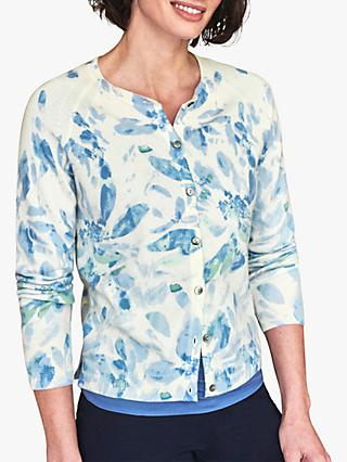 Pure Collection Floral Print Cashmere Cardigan, Blue