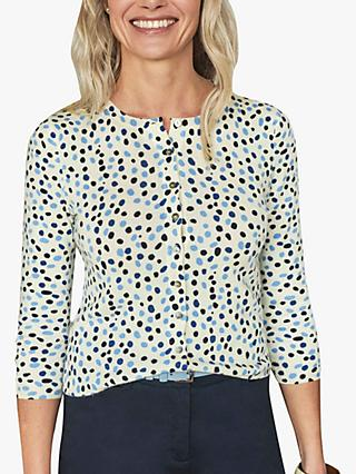Pure Collection Spot Print Cropped Cashmere Cardigan, Blue/Multi