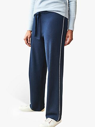 Pure Collection Cashmere Joggers, Navy Tipped