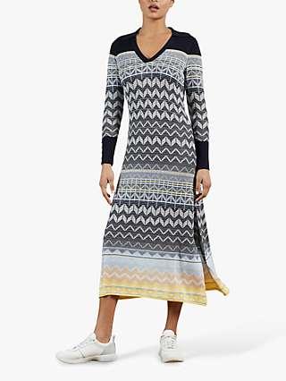 Ted Baker Hollis Geometric Print Midi Dress, Navy