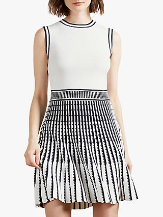 Ted Baker Eastyn Sleeveless Mini Skater Dress, White Black