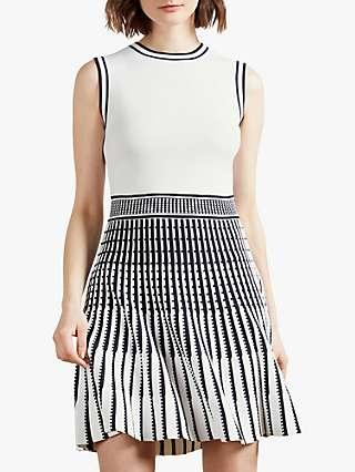 Ted Baker Eastyn Sleeveless Mini Skater Dress, White Black