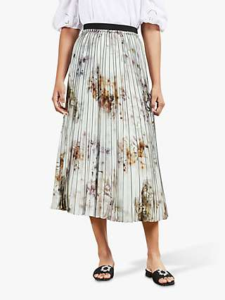 Ted Baker Flavvia Floral Print Pleated Skirt, White/Multi