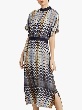Ted Baker Samii Geometric Print Midi Dress, Mid Blue/Multi