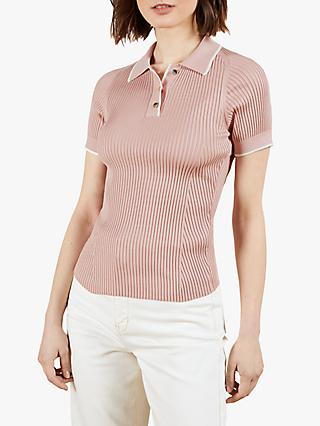 Ted Baker Jayydah Knitted Polo Top, Light Pink