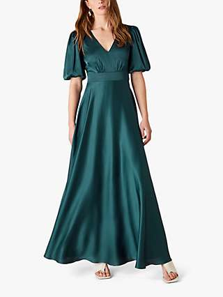 Monsoon Kirsten Satin Maxi Dress, Teal