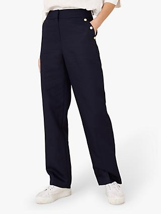 Monsoon Smart Button Embellished Pocket Trousers, Navy