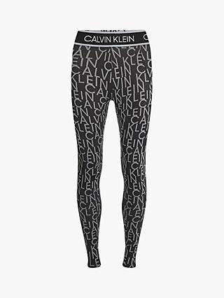 Calvin Klein Performance Logo Print Full Length Leggings, CK Black