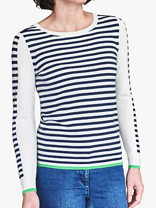 Pure Collection Cashmere Striped Jumper, Navy/White